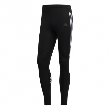 ADIDAS leggings running 3 stripes nero uomo