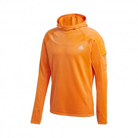 ADIDAS maglia running hoodie run warm own arancio uomo