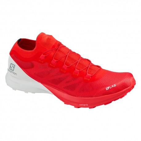 Salomon Scarpe Trail Running SLab Sense 8 Rosso Bianco Uomo
