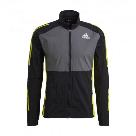 ADIDAS giacca runnig track nero giallo uomo