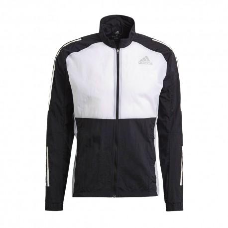 ADIDAS giacca running track nero grigio uomo