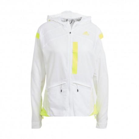 ADIDAS giacca running marathon bianco giallo donna